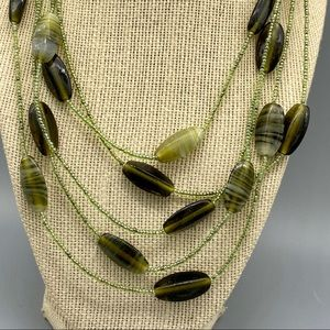 Art glass multilayered necklace